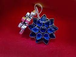 Oxidized Flora Stone Earrings