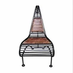 Brown Polished Wooden And Wrought Iron Chair, Size: 4ft