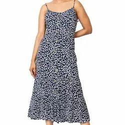 Casual Wear Black Ladies Blue Daisy Print Strap Long Dress, Size: S.m.l.xl