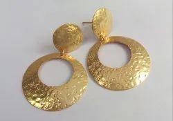 GOLD PLATED ROUND DESIGNER EARRING PLAIN EARRING BEAUTIFUL EARRING