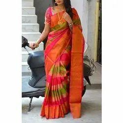 Plain Ladies Casual Wear Silk Saree, 5.5 m (separate blouse piece)