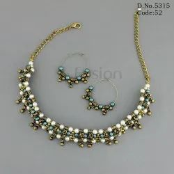 Pearl & Glass Beaded Handmade Western Necklace Set