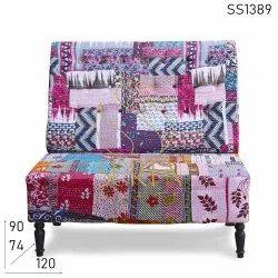 Suren Space Traditional Restaurants Vintage Fabric Sofa, Size: 120 X 74 X 90 Cm