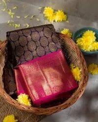 Virani Wedding Wear Traditional Kanchipuram Reach Look Saree, 6.3 m (with blouse piece)