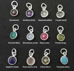 Birthstone Tiny Round Charms Pendant, 6mm Round Small Charms