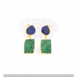 Druzy Fashionable Square And Heart Shape Earrings
