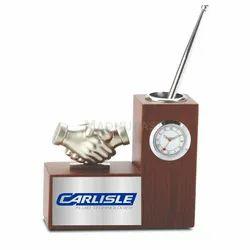 Wooden Rectangular 3 In 1 Desktop Gift - Pen Stand, Clock,Collaboration Symbol, Size/Dimension: 132 X 50 X 113 Mm