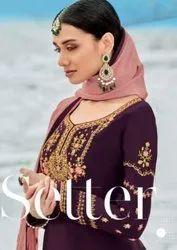 RSF Toran Viscose Upada Silk With Gerogette Gharara Style Salwar Suits Catalog