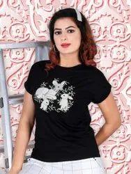 Black Casual Wear Stylish Women Fancy T-Shirt, Size: Free Size