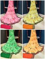 nivera Party Wear 60 gram printed saree with Fancy Lace Border and Latkan, 5.5 m (separate blouse piece)