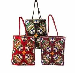 Casual Used Jhola Bags/ Shopping Bags Kalash Design Handmade With Embroidery Work