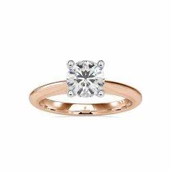 Round Cut Full White Moissanite Ring White,Yellow,Rose Gold For Engagement Wedding