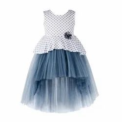 Girl Toy Balloon Kids Grey Printed Party Wear Dress