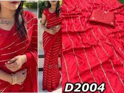 Multicolor sana Fabric:Sanna Silk With Jari Sequence Embroidery Saree