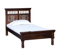 Carved Aramika Solid Wood Single Bed in Provincial Teak Finish, Size: H 40 X W 41.5 X D 84