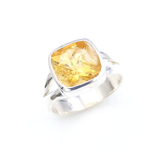 Square Shape Citrine Stone Silver Ring