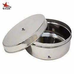 Silver Nutristar Stainless Steel Lunch Box / Puri Box / School Tiffin Box, 1 SS containers