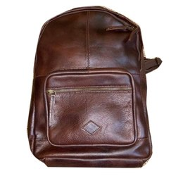 Brown Plain Ladies Leather Shoulder Backpack