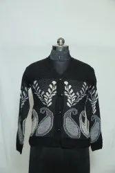 Party Wear Black A-116 Woolen V Neck Cardigan