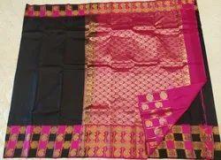 Black & Pink Color Silk Saree