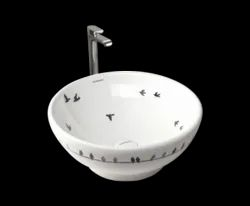 Table Top Wash Basin Birds Glossy