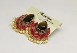 Alloy Golden Artificial Jhumkha Earrings