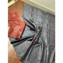 Gray Party Wear Ladies Pure Linen Embroidery Saree, 5.5 M (separate Blouse Piece)