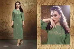 Full Sleeves Mix Coloe Stylish Viscose Banarasi Silk Kurtis