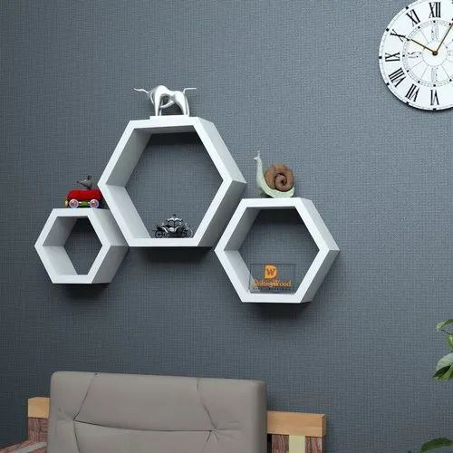 Skywooden Hexagonal Wall Shelves For Bedroom Living Room Wall Decor And Storage Decorative Display At Rs 450 Set Wall Display Shelves Id 22657961548