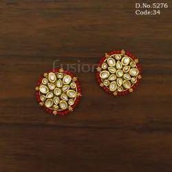 Traditional Antique Kundan Stud Earrings