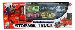 Storage Truck Container with 6 Sliding Cars and Accessories with Carrying Case.