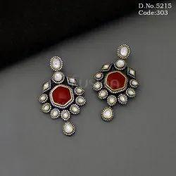 Handmade Indo Western Ruby Stone Pachi Kundan Victorian Chandelier Earrings