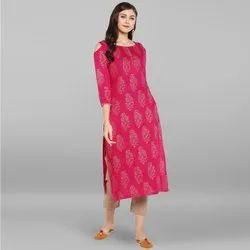 Janasya Women's Pink Rayon Kurta With Pant(SET055)