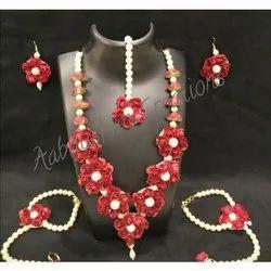 Aabhushan Creations Traditional Red Flower Haldi Jewellery Set