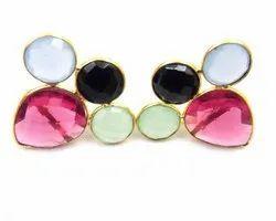 Hot Pink Quartz with Blue Chalcedony, Black Onyx and Peru Chalcedony  Gemstone Stud Earring