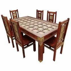 Ethnic India Wooden Brass Block Dining Table Set, Size: 150 X 60 X 75 Cm