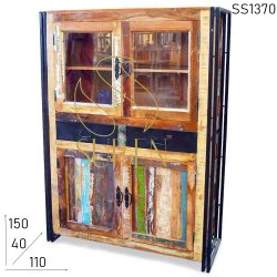 Hinged Brown Vintage Reclaim Mirrored Wood Cabinets, Number Of Doors: 4