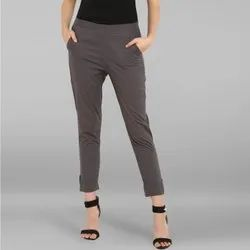 Janasya Women's Grey Pure Cotton Narrow Pant(BTM008)