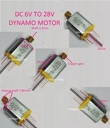 Unique India M15n3 Series  Micro DC Motor with Gear and Double Shaft Used for Scanner,