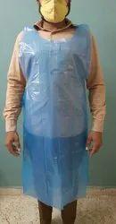 Blue Plain Disposable Plastic Apron, For Hospital