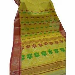 Party Wear Zardozi Work Tant Banarasi Printed Yellow Saree, 6.3 m (with blouse piece)