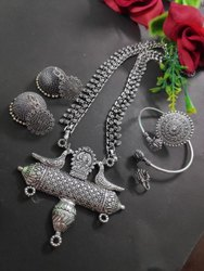 Ronak German Silver Navaratri Special Necklace Set, Box