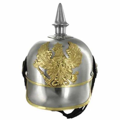 Silver Mild Steel Antique German Pickelhaube Military Helmet, Size: Large