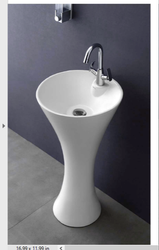 Ceramic White Grafity Pedestal Wash Basin, For Bathroom
