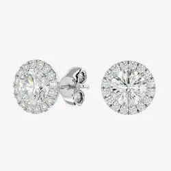Solitaire Moissanite Earring Stud, Full White Round Brilliant Cut Moissanite Stud, Gold Earring Gift