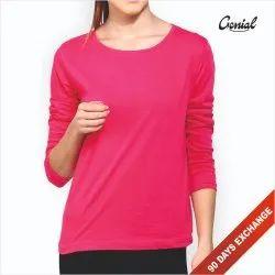 Genial Biowash Cotton Full Sleeve T-Shirt For Women