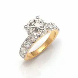 Anand Gems女士3克拉TW。18k黄金中的Moissanite金刚石鸡尾酒戒指