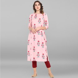 Janasya Women's Pink Pure Cotton Kurta(JNE3391)