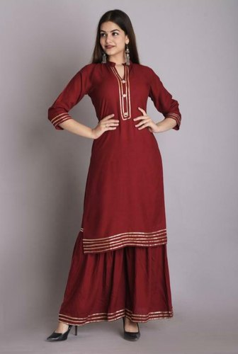 Rayon Kurti With Sharara Set