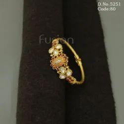 Designer Meenakari Kundan Openable Bracelet Kada